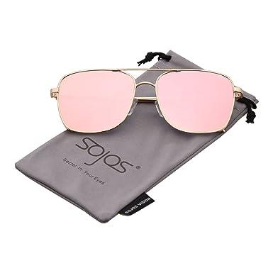 f323cc860d5 SOJOS Square Double Bridge Metal Frame Sunglasses for Men and Women SJ1088  SJ1089 in Gold Frame