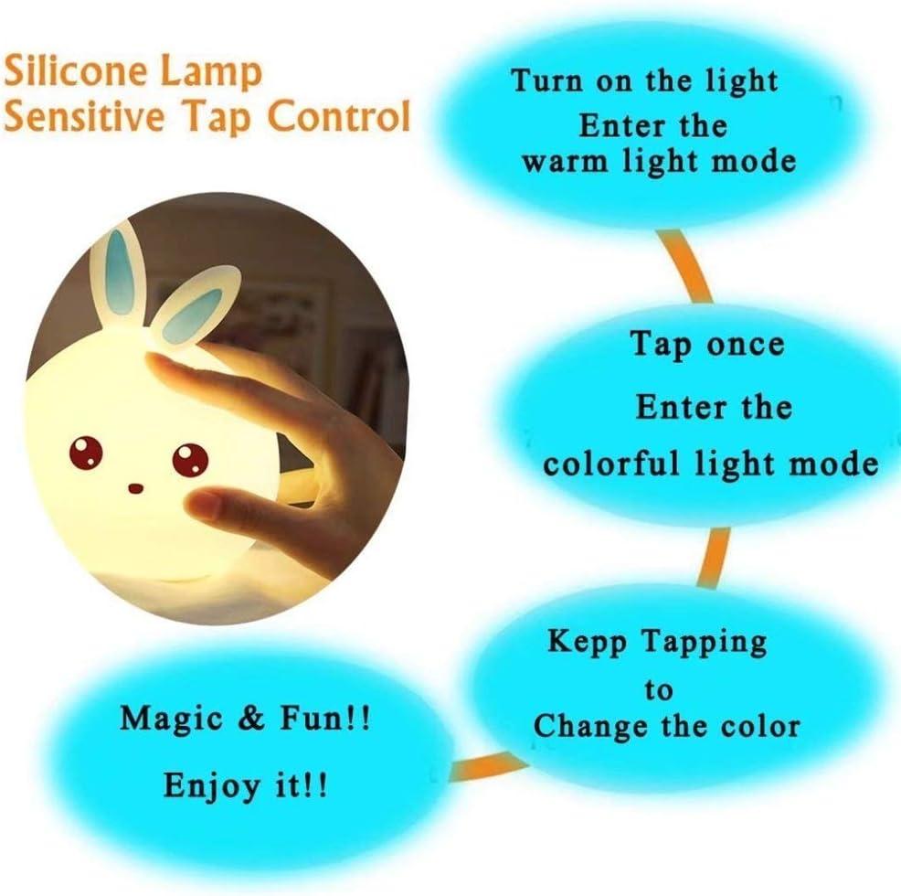 BIGFOX Luz Nocturna Infantil Recargable LED Mesilla de Noche L/ámpara de Silicona y Port/átil con Luces de Colores para Beb/é Ni/ños Ni/ñas Dormitorio y Guarder/ía Decoraci/ón Azul