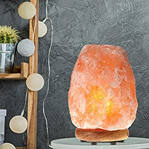WBM 1002 Himalayan Glow Hand Carved Natural Salt Lamp with Genuine Neem Wood Base/Bulb and Updated Dimmer Control, Crystal, Amber, 8 to 11 lb