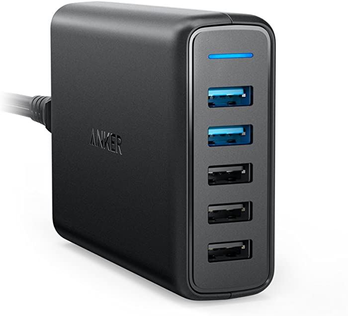 Anker Quick Charge 3.0 63W 5-Port USB Wall Charger, PowerPort Speed 5 for Galaxy S10/S9/S8/S7/S6/Edge/+, Note 8/7 and PowerIQ for iPhone XS/Max/XR/X/8/7/6s/Plus, iPad, LG, Nexus, HTC and More