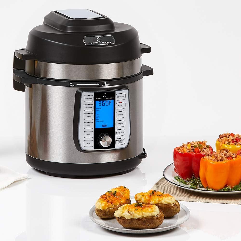 Emeril Lagasse Pressure Cooker, Air Fryer, Steamer & All-in-One Multi-Cooker. Pressure & Crisper Lid, Glass Lid. Emeril Recipe Book. (6 QT With ...