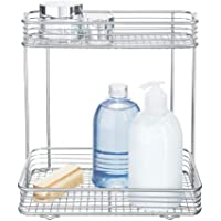 InterDesign iDesign Wire Storage Shelves, 2-Tier Cosmetic Shelves, Silver