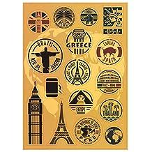 T&B 2PCS Multi Countries Retro Vintage Landmark Monument Travel Airline Plane Patterns Stickers Luggage Suitcase Laptop Waterproof Stickers Children's Room Decor Labels A4#2