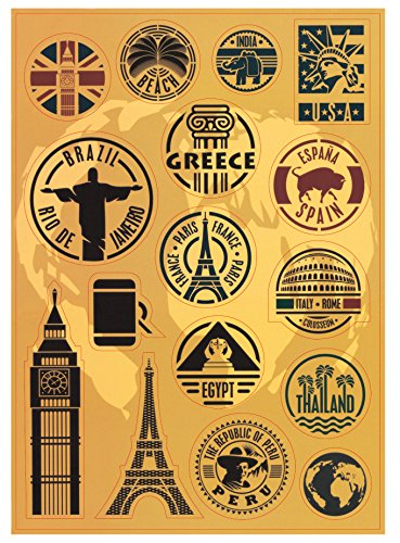 T&B 2PCS Multi Countries Retro Vintage Landmark Monument Travel Airline Plane Patterns Stickers Luggage Suitcase Laptop Waterproof Stickers Children's Room Decor Labels A4#2