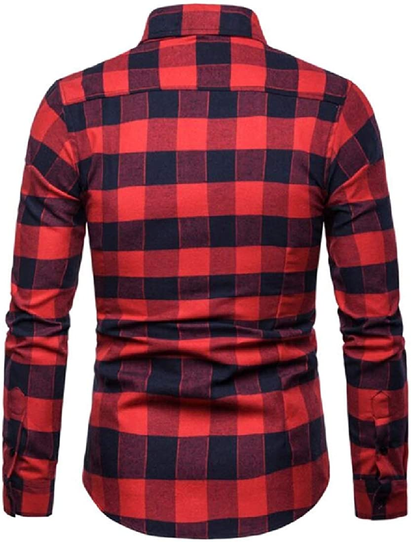 YYG Mens Casual Turn Down Collar Plus Size Plaid Long Sleeve Button Down Dress Shirts