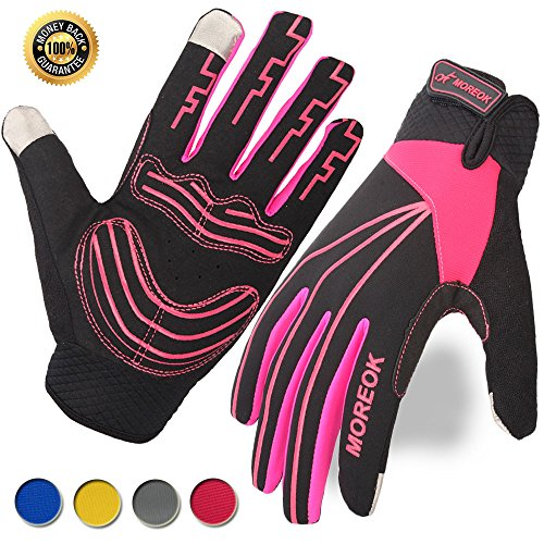 (Achiou Cycling Touch Screen Gloves Bicycle Winter Full Finger Mountain Bike Anti-Skid Thick Palm Pad Cold Weather for Men and Women (Rose Red,Medium))