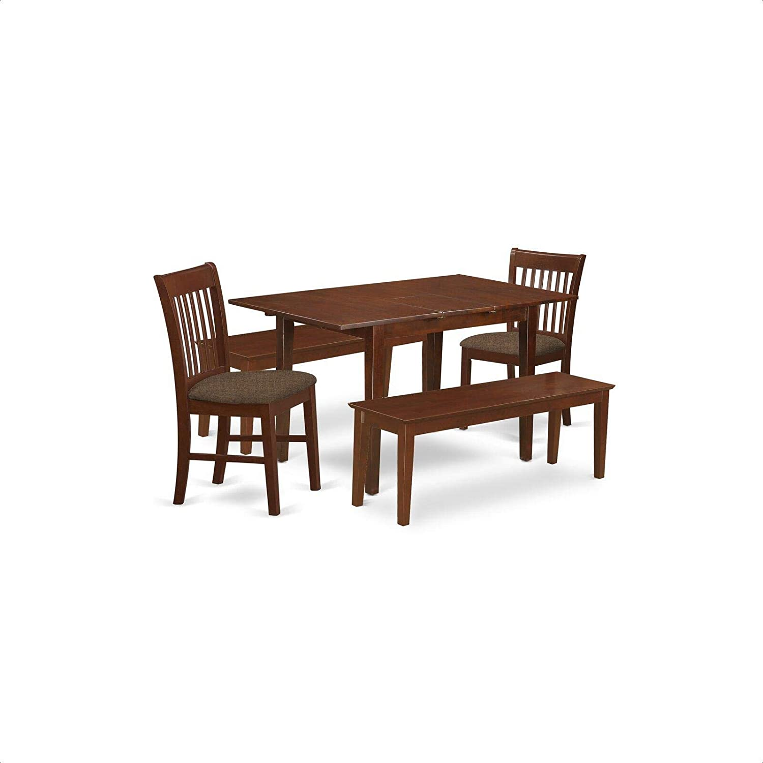 Antonio 5 Piece Extendable Solid Wood Breakfast Nook Dining Set Table Chair Sets