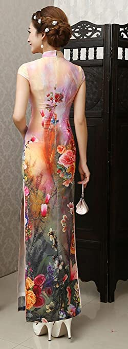 Amazon.com: AvaCostume Womens Chinese Silk High Side Slit Long Chinese Dress Cheongsam: Clothing