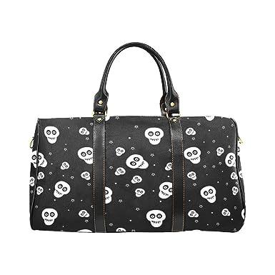 Halloween Sugar Skull Large Travel Duffel Bag Waterproof Weekend Bag  Luggage with Strap ae974aab4d5