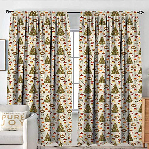 (Kitchen Curtains Christmas,New Zealand Poinsettia Flower Xmas Trees Surprise Boxes Artwork Culture, Olive Green Yellow,Rod Pocket Curtains for Big Windows 54