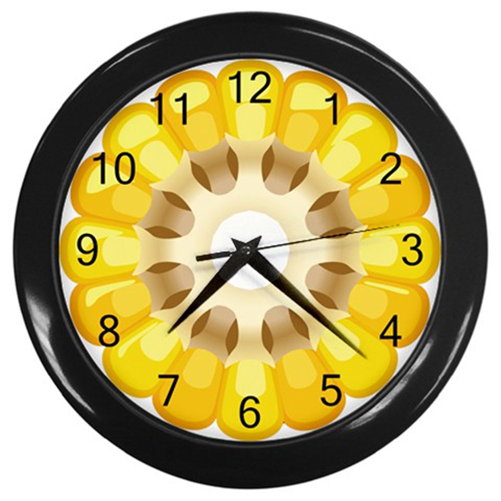 Cut Corn Cob Black Frame Kitchen Wall Clock