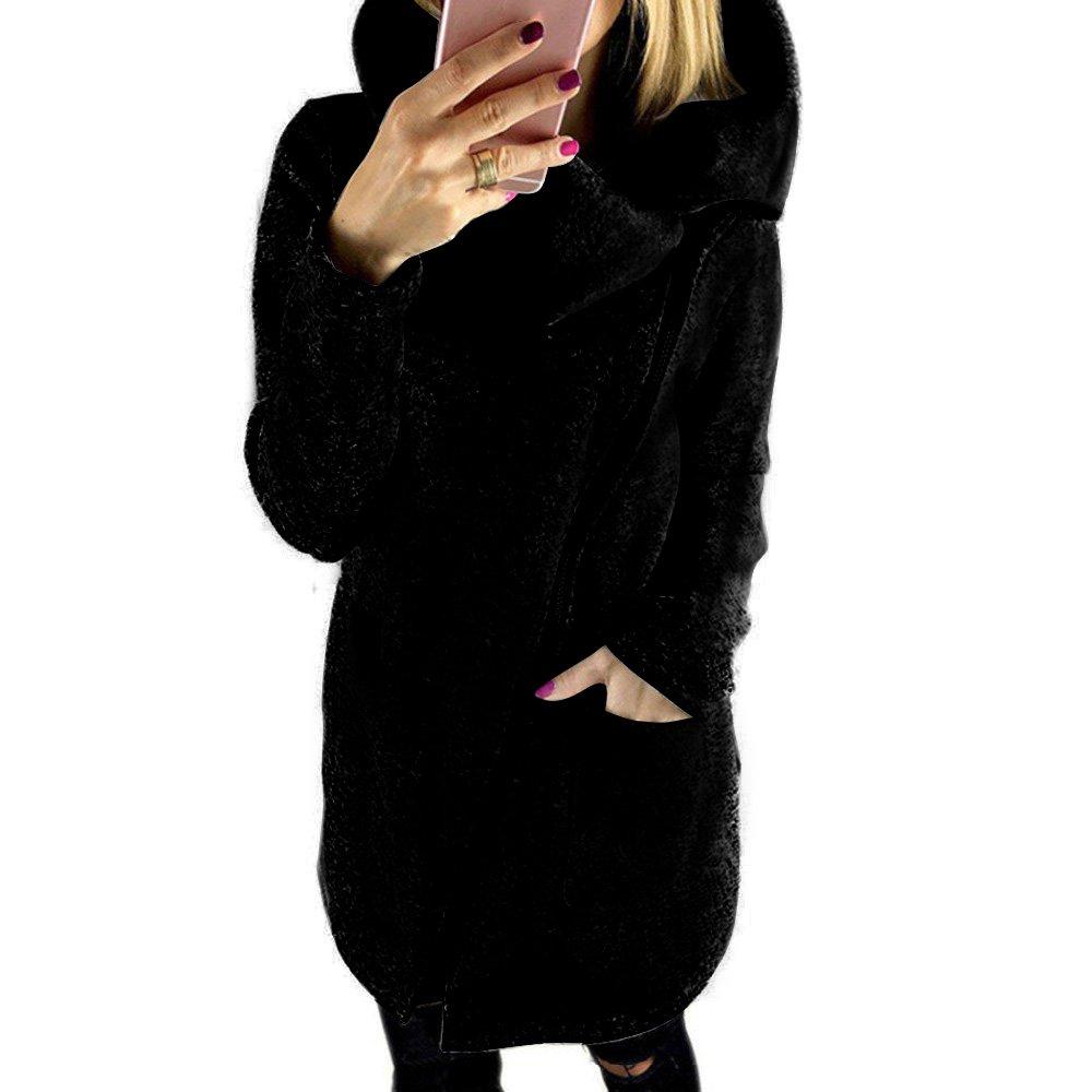 Kaoccy Women's Casual Long Hoodie Sweatshirt Zipper Coat With Plus Size