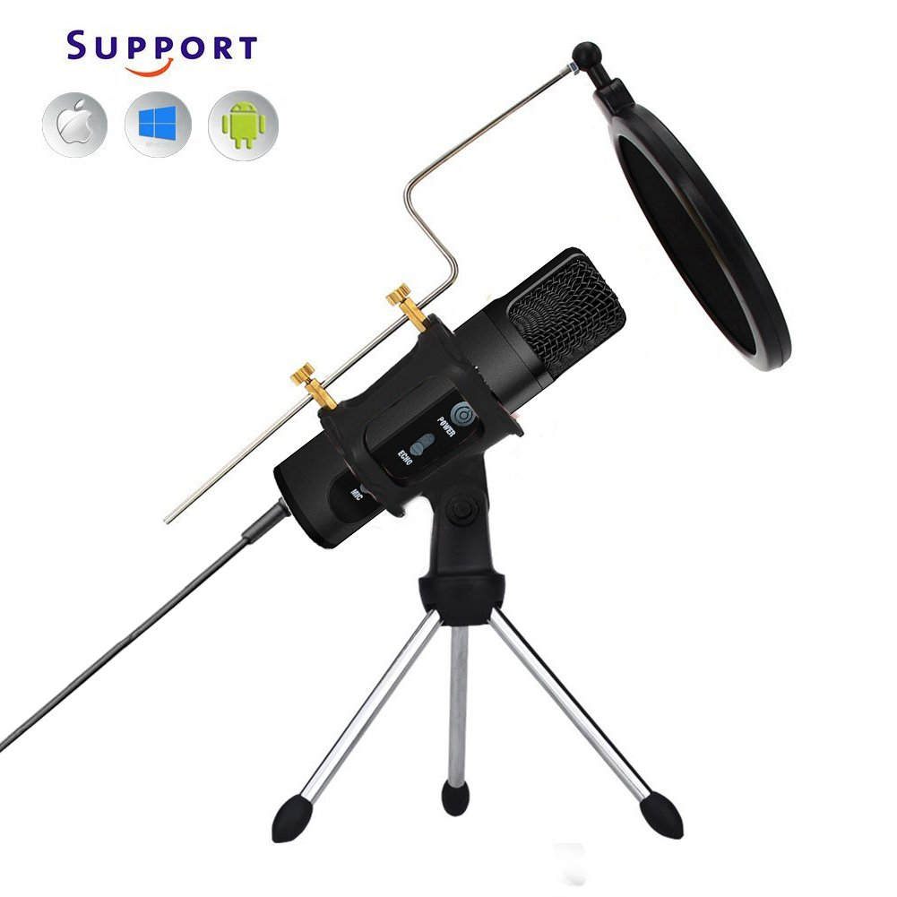 TKGOU Microphone For IPhone Phone With Pop Filter & Tripod Stand With 3D Echo, Karaoke Live Monitor, Voice Changer, Singing microphone for music recording(Nuts 991) by TKGOU