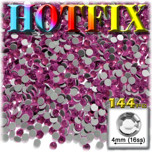 The Crafts Outlet DMC HOT-FIX Glass 144-Piece Round Rhinestone Embellishment, 4mm, Hot Pink/Rose ()