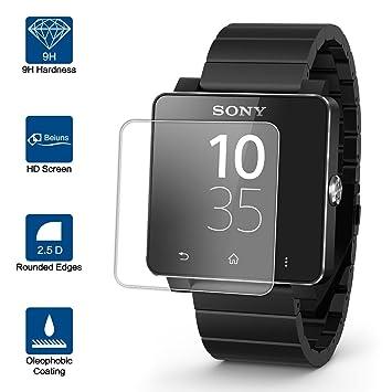 Beiuns Vidrio Templado Protector de Pantalla para Sony SmartWatch 2 SW2