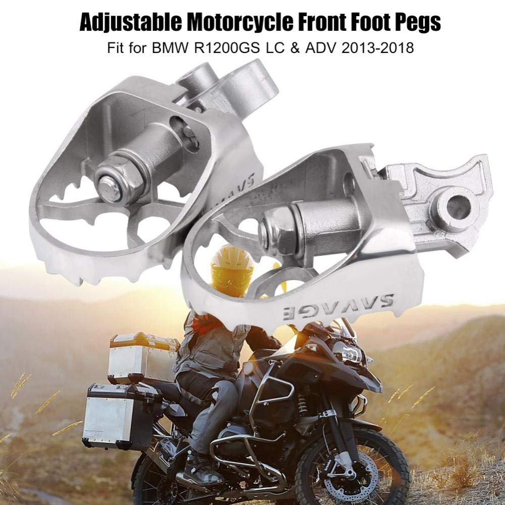 KIMISS Repose-Pieds Avant R/églable en Acier Inoxydable pour Moto avec Angle R/églable pour R1200GS LC /& ADV 2013-2018