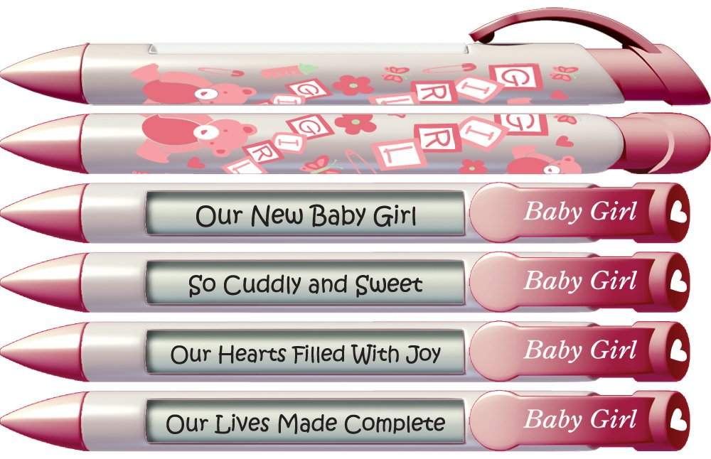 Baby Pen by Greeting Pen- Baby Shower / Birth Announcement Pens Baby Girl Block Rotating Message 6 Pen Set 36503