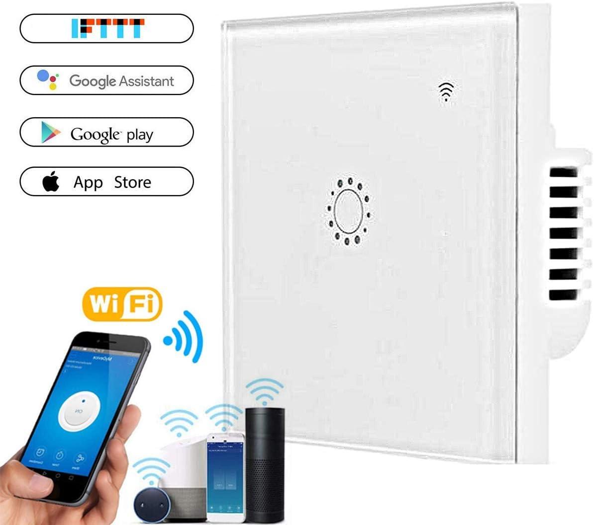 Interruptor de luz WiFi, interruptor táctil Orville con control remoto de aplicación de voz, función de temporizador, protección de sobrecarga, compatible con Alexa y Google Home, blanco