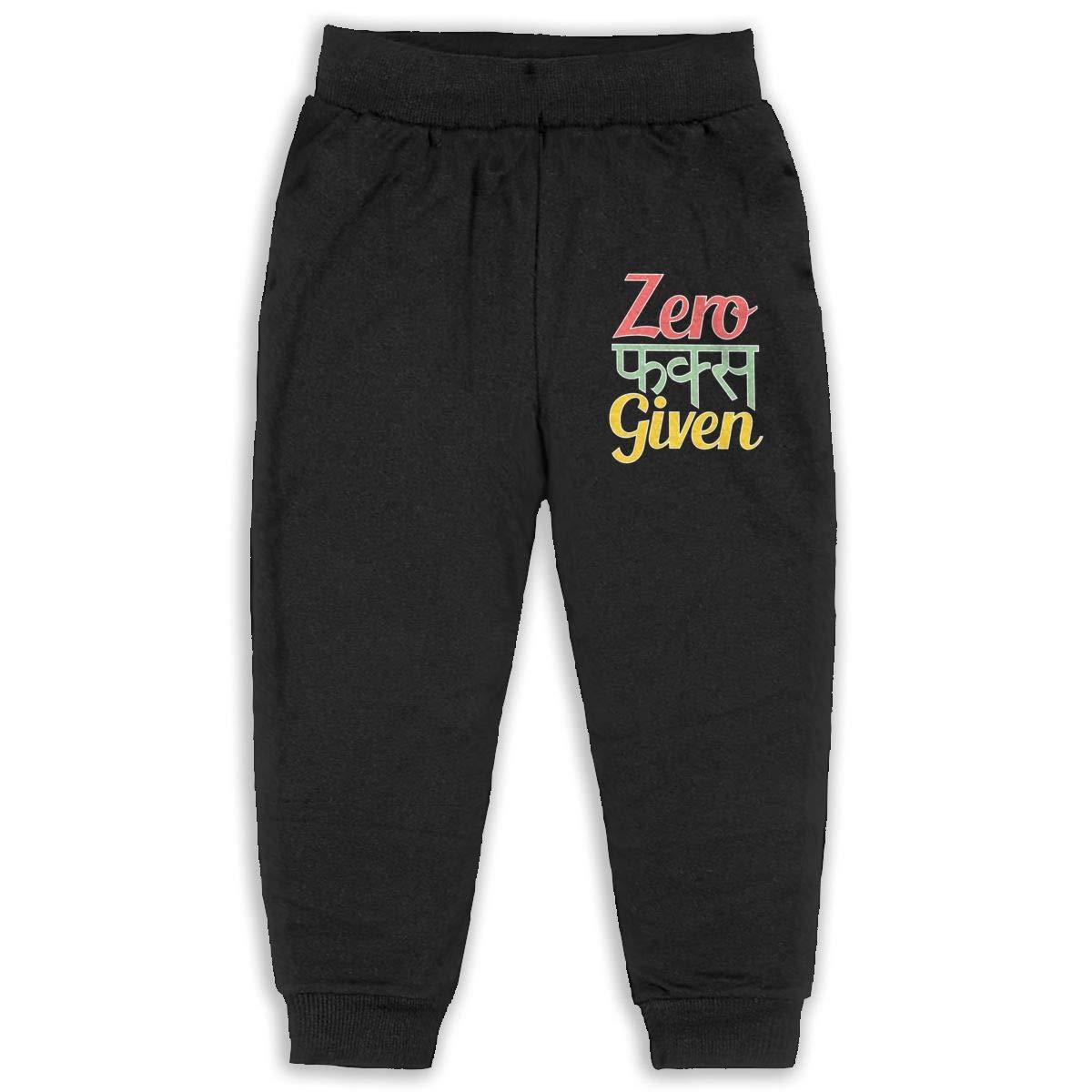 Laoyaotequ Zero Fucks Given Kids Cotton Sweatpants,Jogger Long Jersey Sweatpants