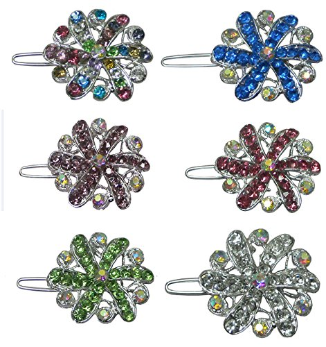 (Set of 6 Small Medallion Barrettes, One each of 6 Colors, Snap Hair Clips U86400-1719-6 )