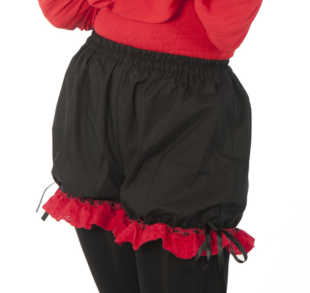 Short Flirty Renaissance Tavern Wench Red Lace Trimmed Black Pantalette - DeluxeAdultCostumes.com