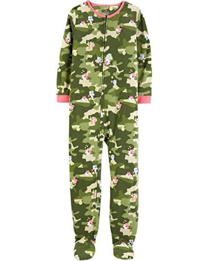 6da273f0a8 Carter s Girls  1-Piece Zippered Gripper Footie Fleece Pajamas (Green Camo  Floral