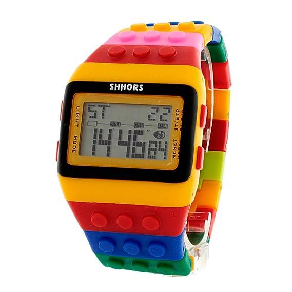9c121122711f Reloj SHHORS Digital Unisex Bloque de múltiples funciones. Carátula color  Amarillo con Negro y un