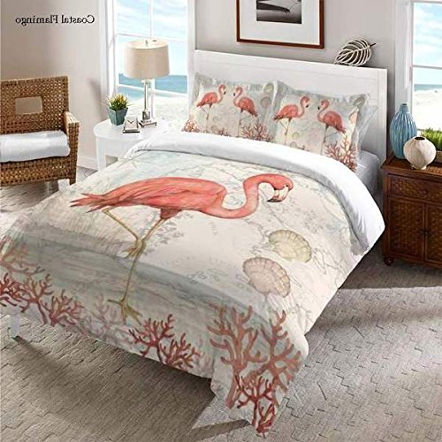 1 Piece Tropical Inspired Design Comforter Queen Size, Featuring Flamingo Corals Seashells Solid Reverse Comfortable Bedding, Contemporary Stylish Nautical Bedroom Decoration, Beige, Pink, Multicolor