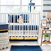 DS 3 Piece Baby Blue Yellow White Desert Sky Crib Bedding Set, Newborn Tribal Themed Nursery Bed Set Infant Child Southwest Bold Border Navy Aztec Pattern Geometric Blanket Comforter, Cotton