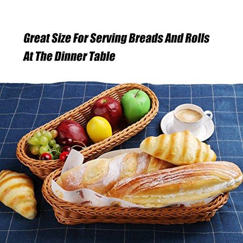 2 Set 14.5'' Poly-Wicker Bread Basket, Long Woven Tabletop Food Serving Basket, Honey Brown - Set of 2 by Make it fun (Image #5)