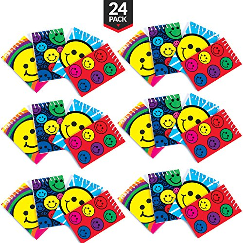 Emoticon Smiley Face Spiral Mini Notebooks [Pack Of 24] Assorted Colors And Designs, Emoji Party Favors, Goody Bags, Classroom Rewards,