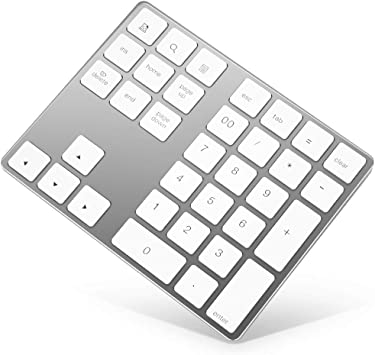 Bluetooth Numeric Keypad Rechargeable Aluminum 34 Key Number Pad Slim External Numpad Keyboard Data Entry Compatible For Macbook Macbook Air Pro