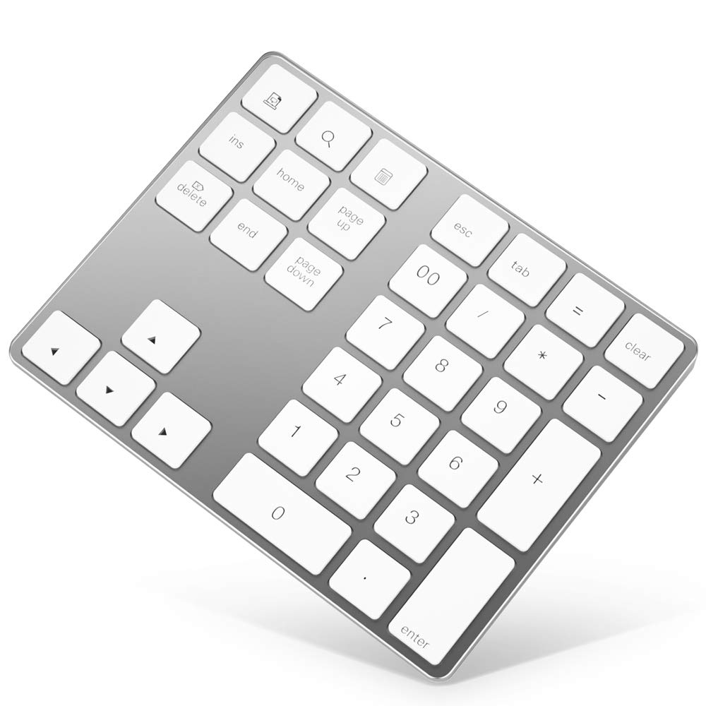 Bluetooth Numeric Keypad, Rechargeable Aluminum 34-Key Number Pad Slim External Numpad Keyboard Data Entry Compatible for MacBook, MacBook Air/Pro, iMac Windows Laptop Surface Pro etc