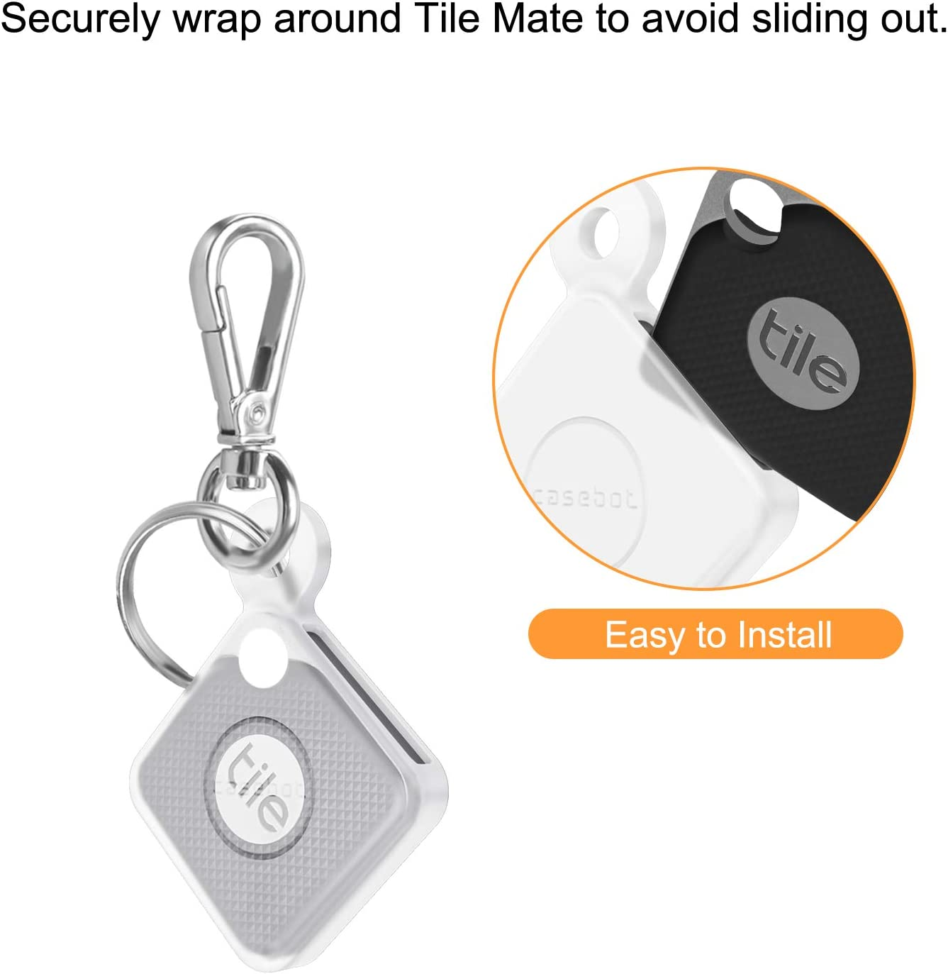 2020 /& 2018 Fintie Silicone Case with Carabiner Keychain for Tile Mate Black Anti-Scratch Lightweight Soft Protective Sleeve Skin Cover 2 Pack