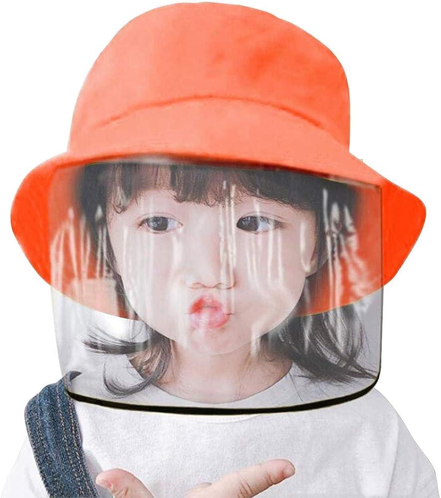 Kids Protective Face Shield Hat Face Mask Cap Anti-Saliva Hat Anti Pollution Bucket Hat Dustproof Splash Facial Cover Removable Dustproof Cover Fisherman Hat Boys Girls Cotton Sun Hat,Orange
