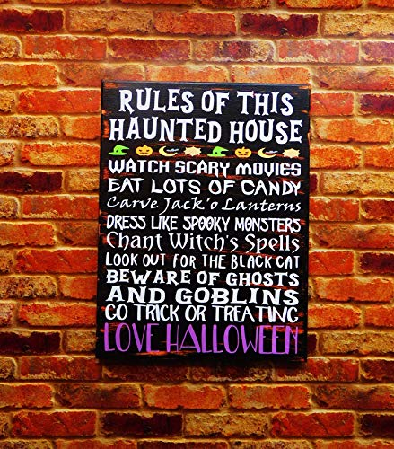 Halloween Haunted House Family Rules Sign Decor Canvas ()