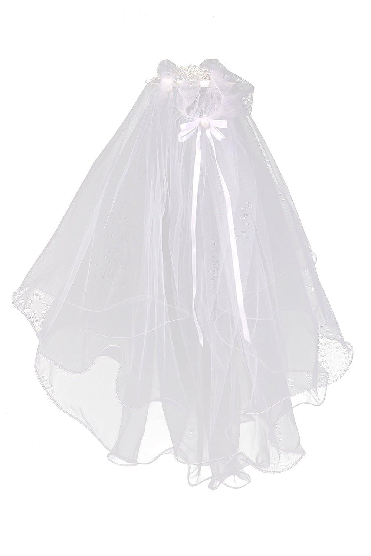 Kids Dream Girls Cross First Communion Veil Tiara Crown Jewel and Pearl