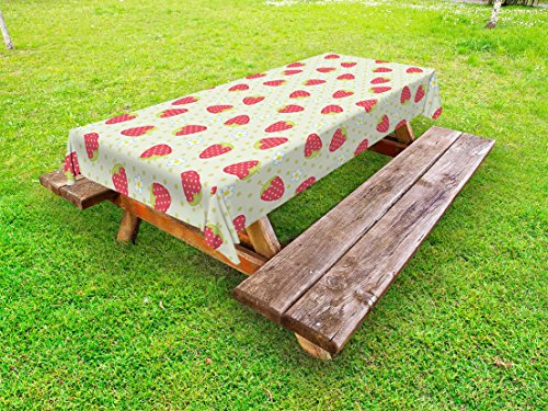 Ambesonne Fruits Outdoor Tablecloth, Spring Daisy Blooms Fresh Strawberry Polka Dots Cheerful Life Baby Cartoon Art, Decorative Washable Picnic Table Cloth, 58 X 84 Inches, Pale Green Red