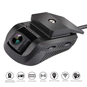 Dual Dash Cam - MiCODUS Dash Cam Front and Rear NO Monthly Fee Full HD 1080P 140-degree Wide-Angle DVR, WDR, Live Video Streaming with GPS Tracker Function