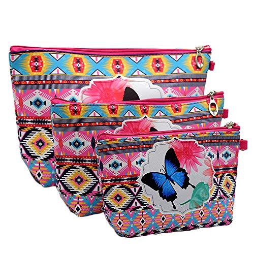 Case Butterflies Eyeglass (Oyfel 3PCs Makeup Bag Set Makeup Organizer Storage Case Toiletry Bag Butterfly Pattern Cosmetic Travel Bag Organizer Travel Accessories Organizer Bag)