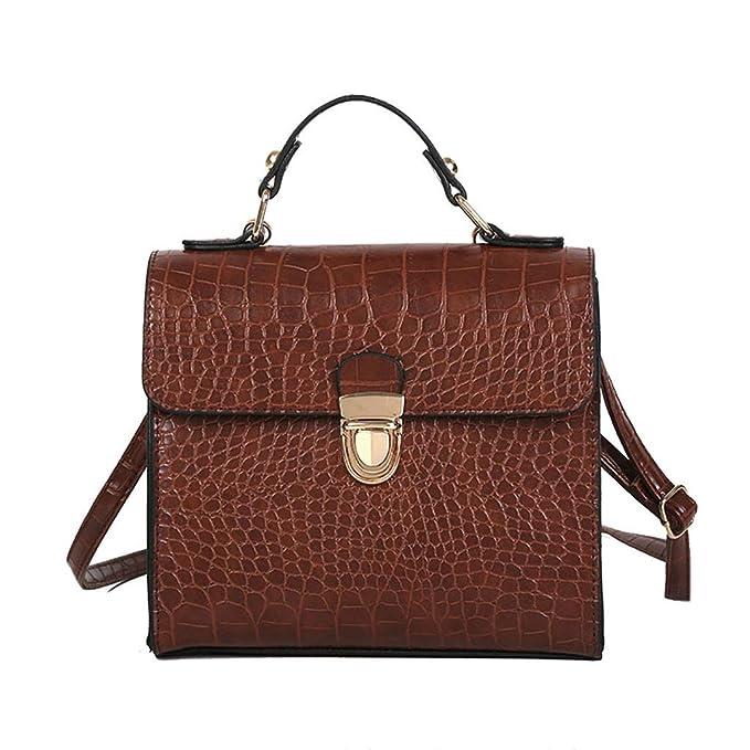 f8d7900065de1 SUCES Damen Quadratische Messenger Frauen Vintage Krokodil Muster Handtasche  Schultertasche Kleine Tasche Geldbörse Damentasche Ledertasche Henkeltaschen
