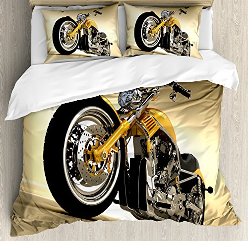 Motorcycle Duvet Cover Set by Ambesonne, Iron Custom Aesthetic Hobby Motorbike Futuristic Modern Mirrors Riding Theme, 3 Piece Bedding Set with Pillow Shams, King Size, Yellow Silver by Ambesonne