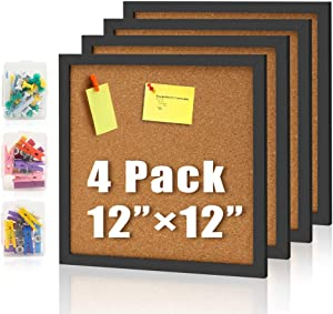 "Bulletin Board 4 Packs Pareiko 12"" X 12"" Corkboards Black Framed Cork Tiles Square Pin Board Modern Decorative for Office Home School Wall (Including 20 Push Pins 20 Colorful Clip Pins)"