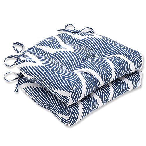 Pillow Perfect Bali Navy Reversible Chair Pad, Set of 2 by Pillow Perfect