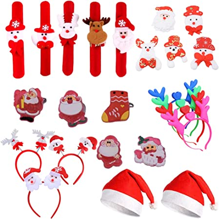 Amasawa 24 Piezas Sombrero de Navidad, LED Cornamenta Diadema ...