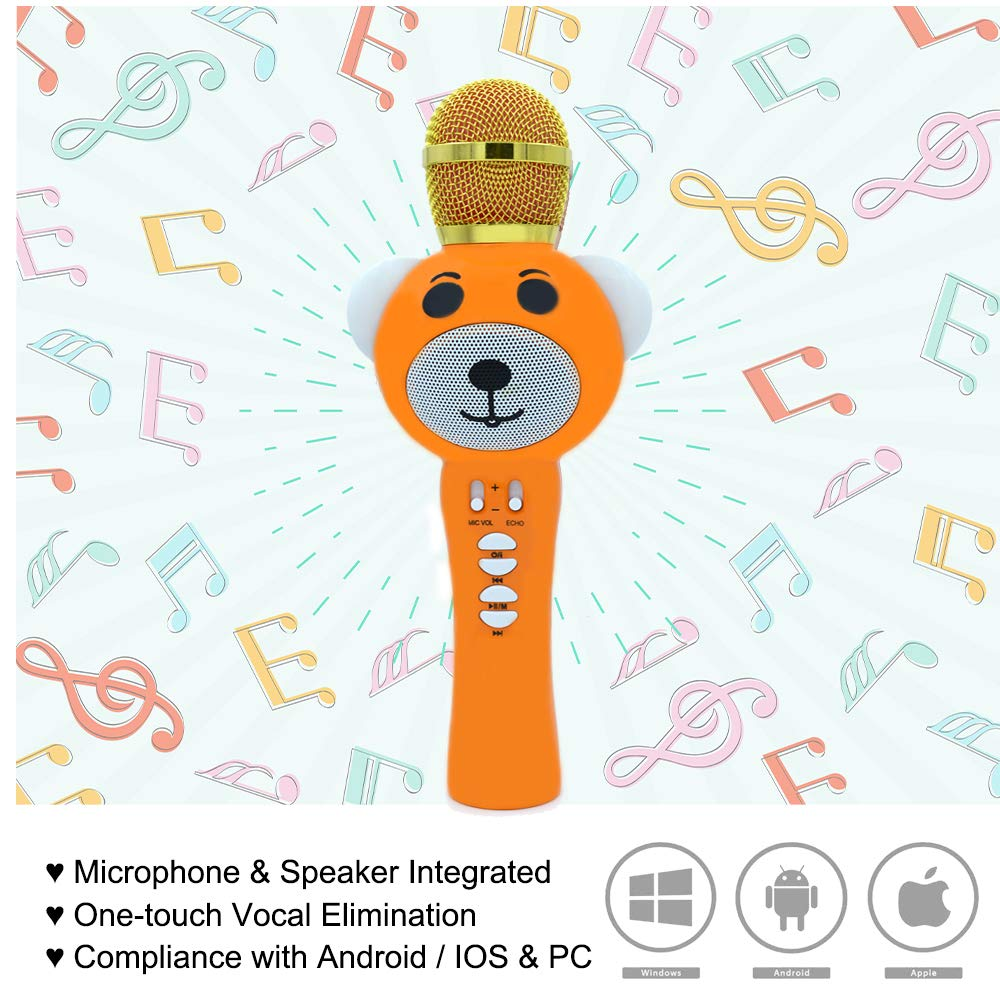 Upgraded 2019 Version Kids Karaoke Microphone with Bluetooth, Magic Voice Changer, and Flashing Multicolored LED Lights (Orange) by Garoma (Image #5)