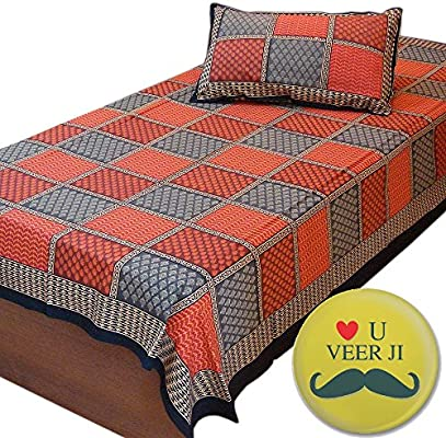 Little India Fancy Jaipur Bagru Print Single Bed Sheet Bedcover 406