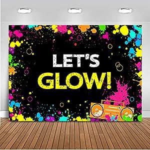 Amazon Com Mehofoto Glow Neon Party Backdrop Let S Glow