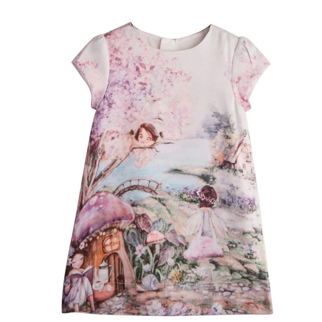 Voberry Baby Kids Girls Summer Princess Party Dress Short Sleeve Printing Sundress
