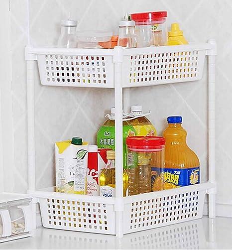 SSBY Escurreplatos doble encimera, cocina estufa de mesa condimentos vegetales almacenamiento especiero